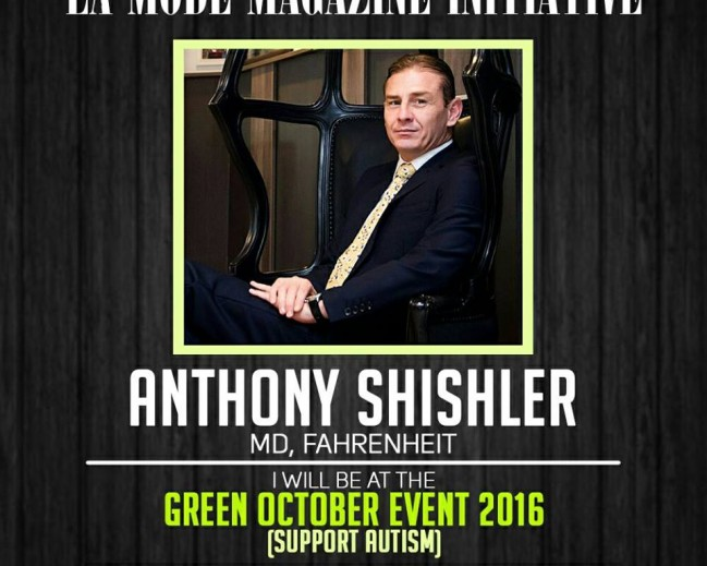 Anthony Shishler Will Be At The La Mode Magazine Green October Event 2016 Edition!