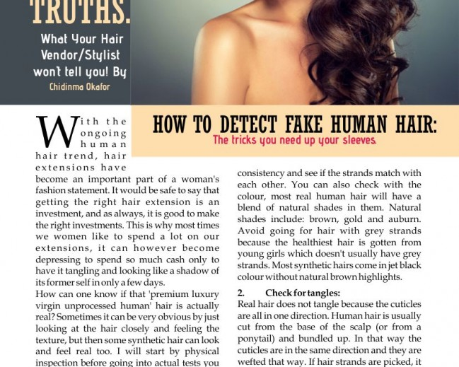 La Mode Magazine 15th Edition Article  Feature: Candid Hair Truths,What Your Hair Vendor/Stylist Will Not Tell You By Chidinma Okafor!