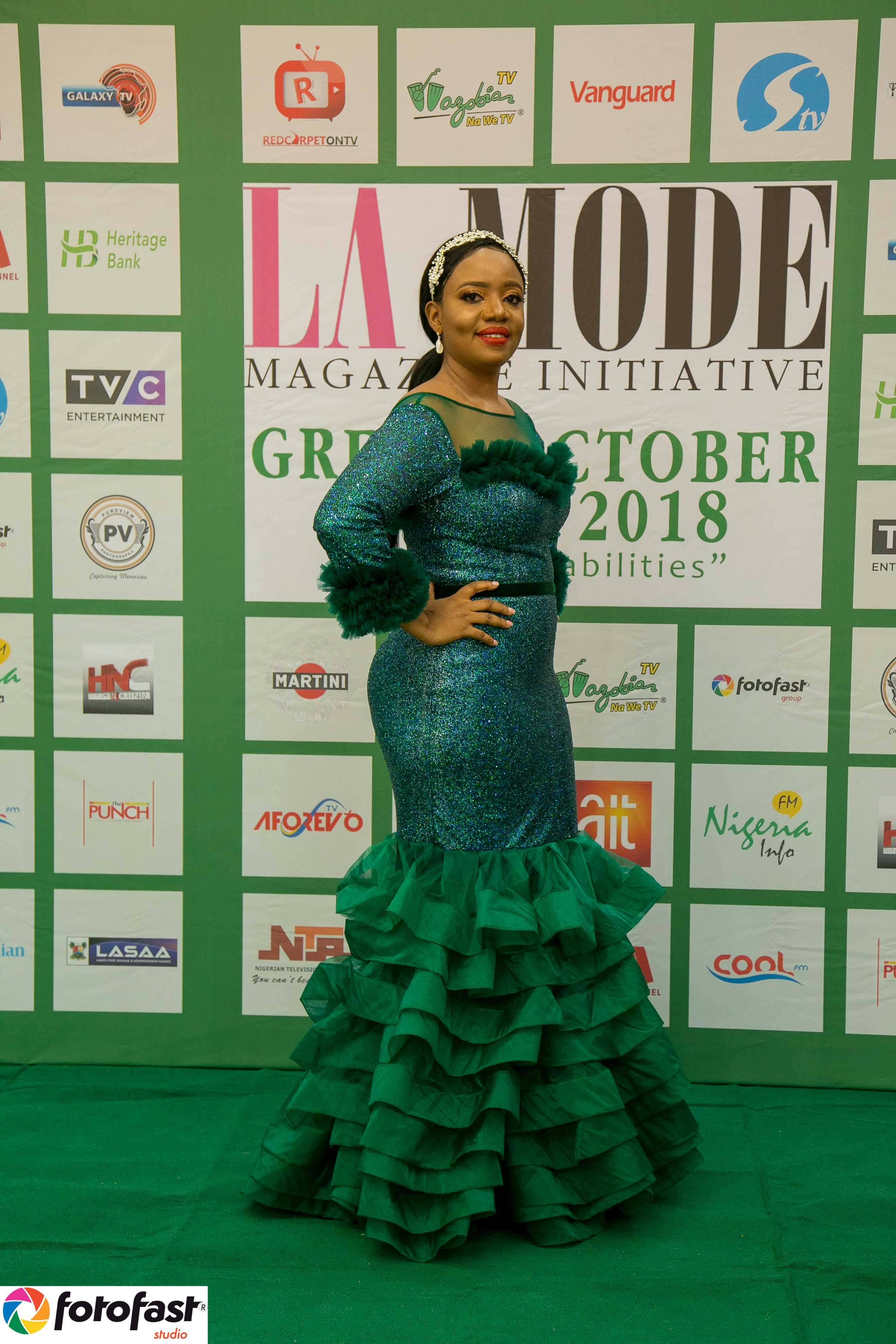 Look - CEO La Mode Magazine Mrs. Sandra Odige's Radiant Made By Trish .O. Couture's Outfit at the Green October Event 2019 Beyond Disabilities video