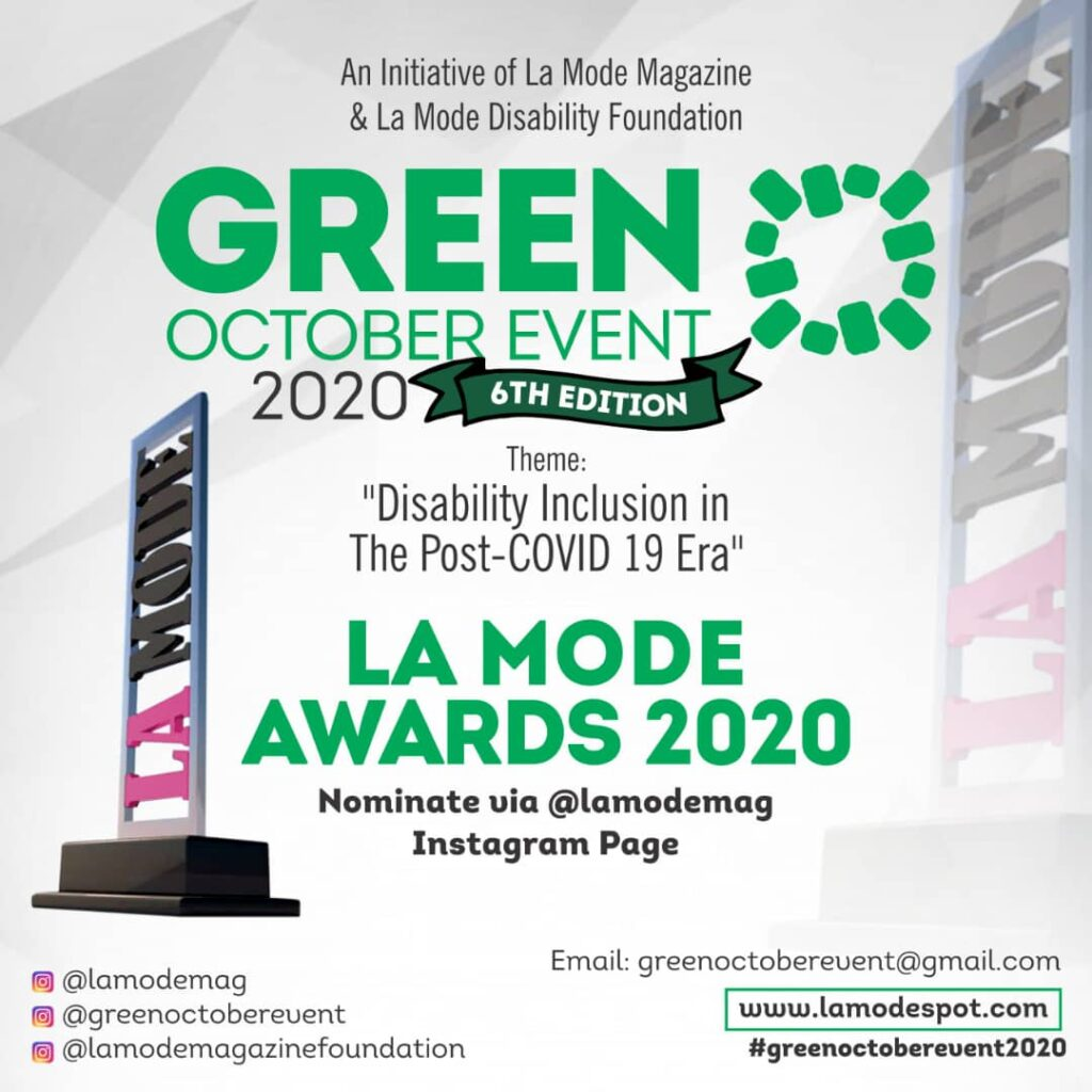 La Mode Awards Categories List: Green October Event 2020