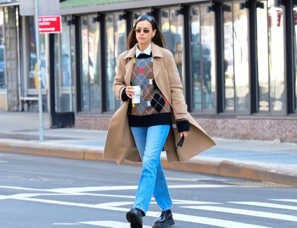 Irina Shayk is seen walking in Soho